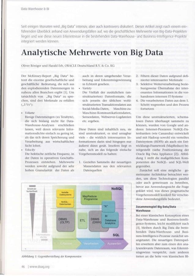 """DataWarehouse&Bl SeiteinigenMonatenwird,,BigData""""intensiVaberauchkontroversdiskutiert.DieserArtikelzeigtnacheinemern- führ..."""