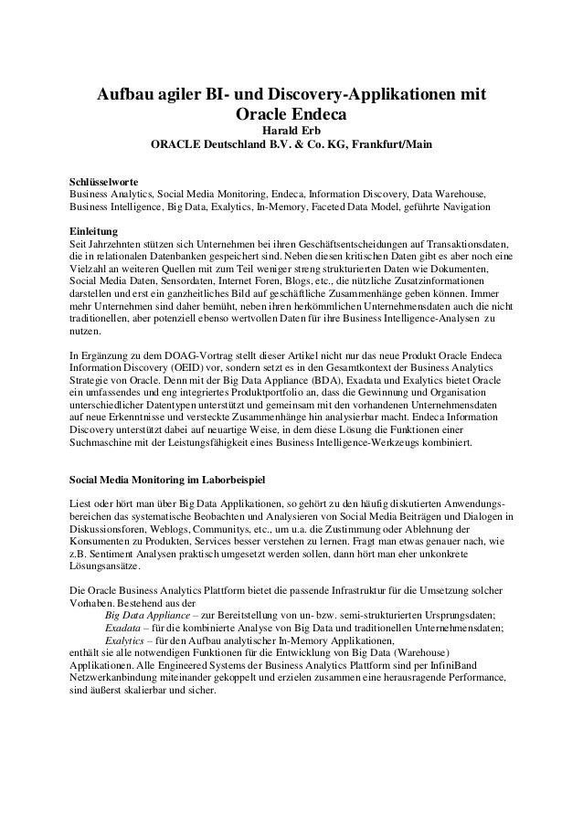 Aufbau agiler BI- und Discovery-Applikationen mit Oracle Endeca Harald Erb ORACLE Deutschland B.V. & Co. KG, Frankfurt/Mai...
