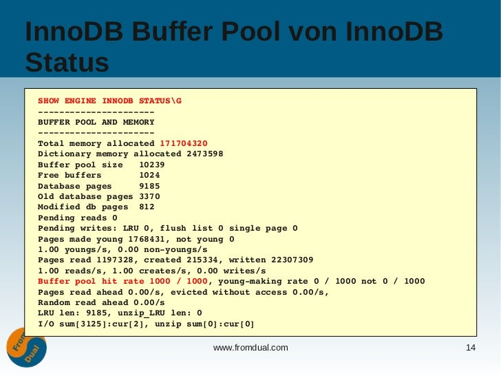 Mysql configuration the most important variables for Show buffer pool size