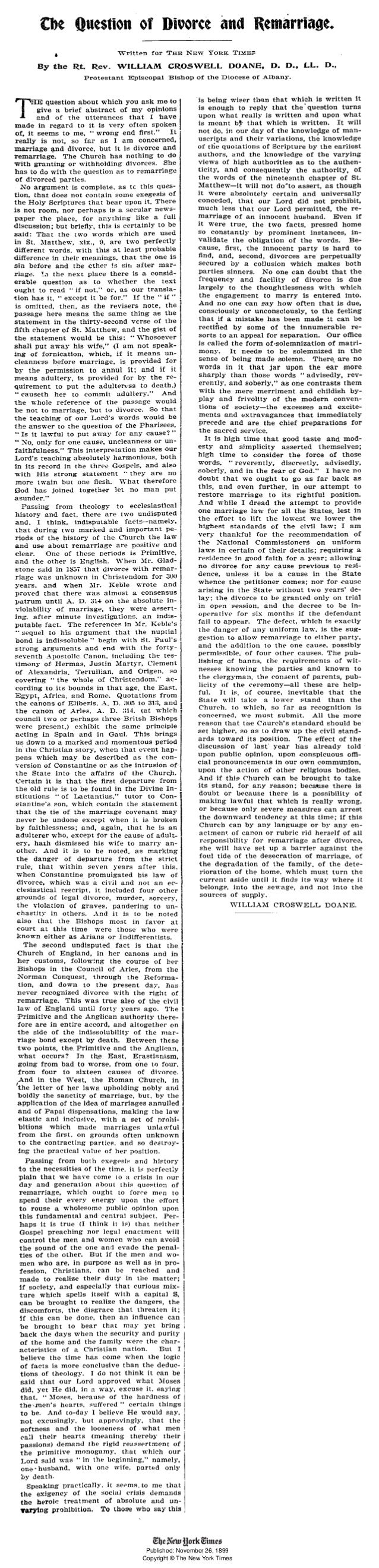 Published: November 26, 1899  Copyright © The New York Times