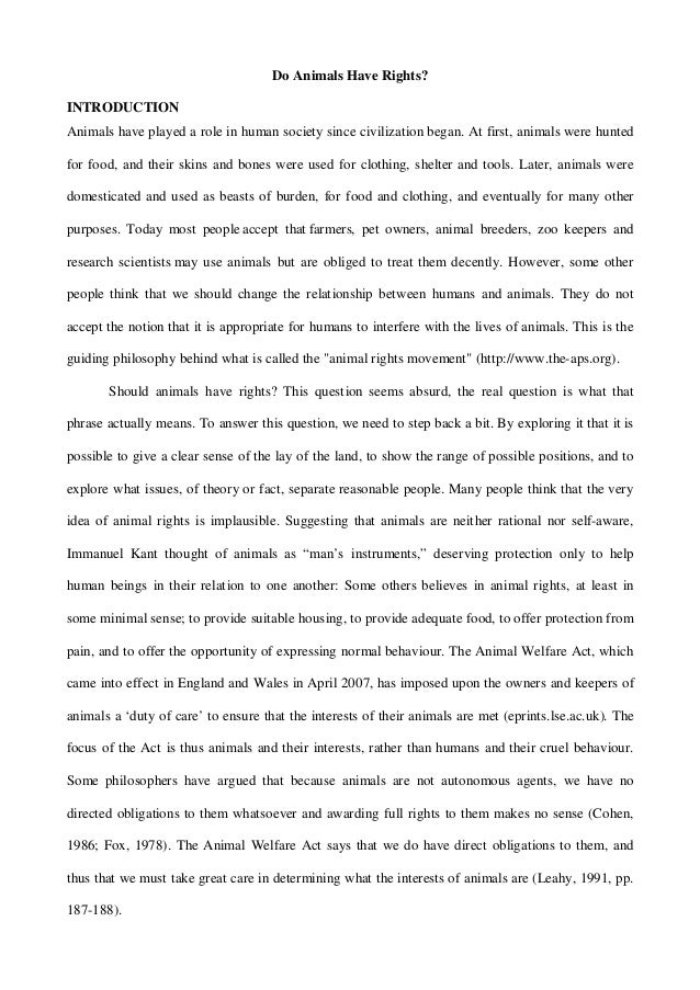 do animals have rights essay