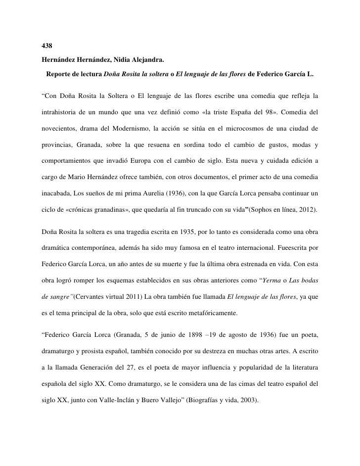 438Hernández Hernández, Nidia Alejandra. Reporte de lectura Doña Rosita la soltera o El lenguaje de las flores de Federico...