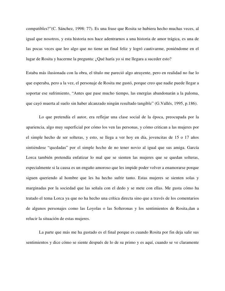 """compatibles?""""(C. Sánchez, 1998: 77). Es una frase que Rosita se hubiera hecho muchas veces, aligual que nosotros, y esta h..."""