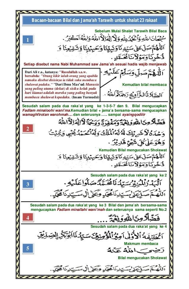 Doa shalat tarawih dan bacaan bacaan bilal