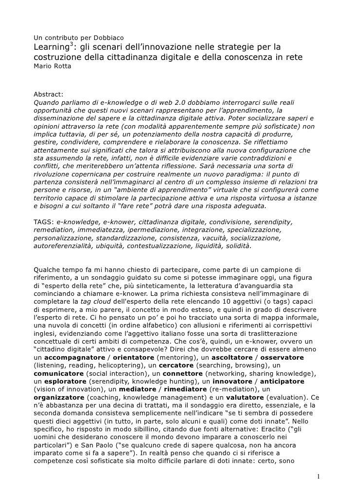 Un contributo per Dobbiaco Learning3: gli scenari dell'innovazione nelle strategie per la costruzione della cittadinanza d...