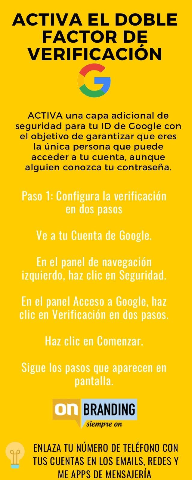 Paso 1: Configura la verificaci�n en dos pasos Ve a tu Cuenta de Google. En el panel de navegaci�n izquierdo, haz clic en ...