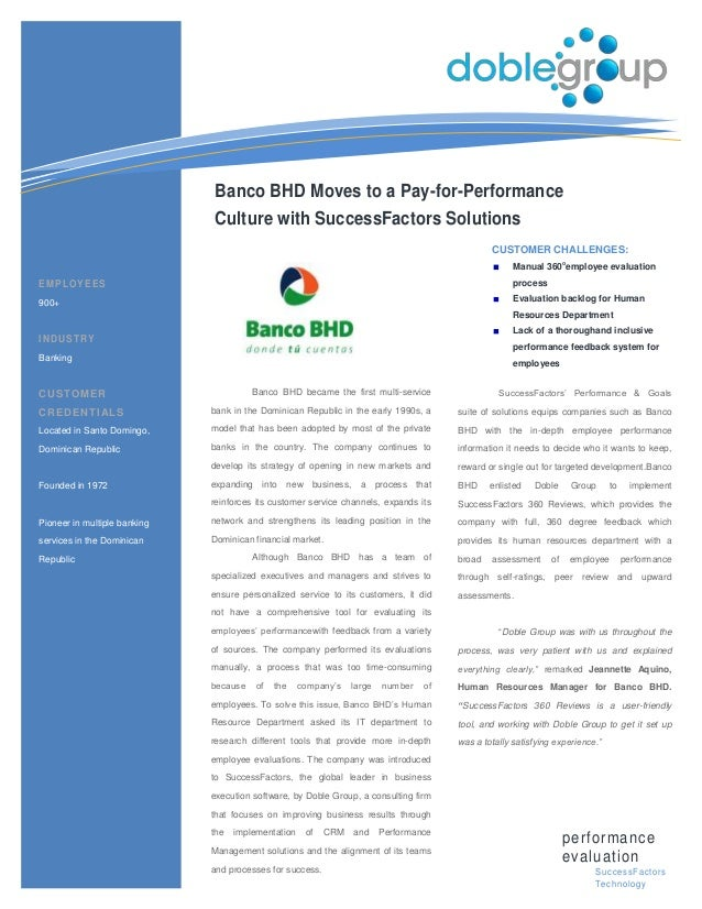 Banco BHD Moves to a Pay-for-Performance                              Culture with SuccessFactors Solutions               ...