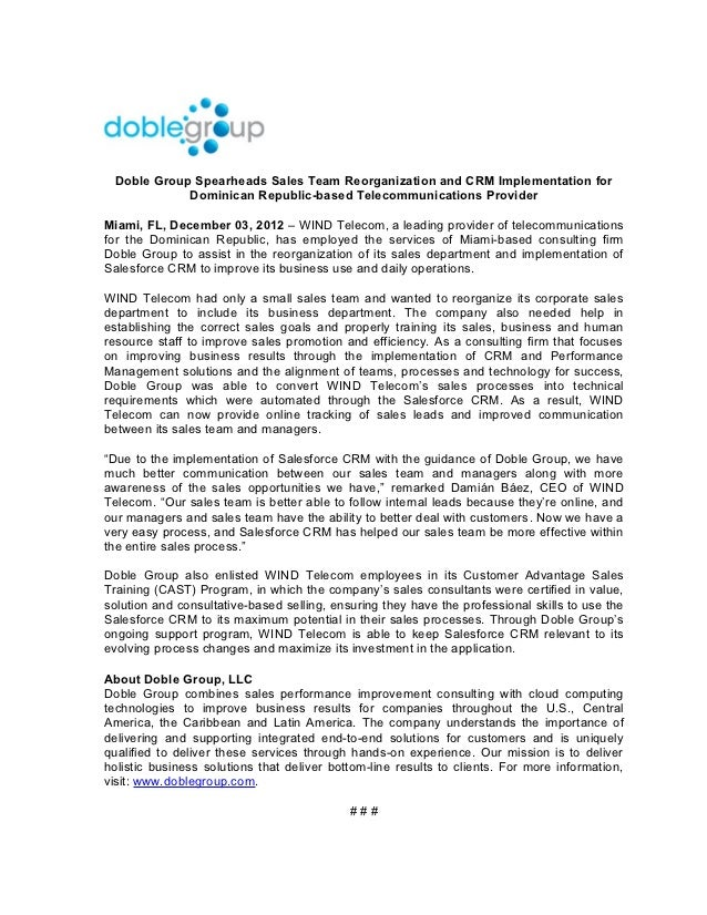 Doble Group Spearheads Sales Team Reorganization and CRM Implementation for             Dominican Republic-based Telecommu...