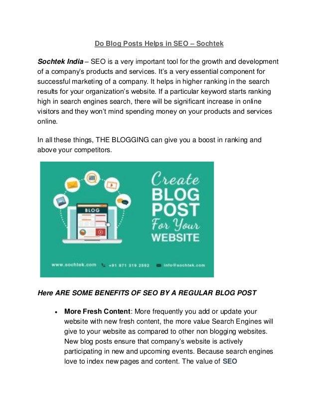 Do blog posts helps in seo sochtek seo company Chandigarh