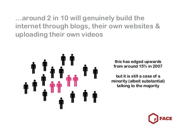 …around 2 in 10 will genuinely build the internet through blogs, their own websites & uploading their own videos          ...
