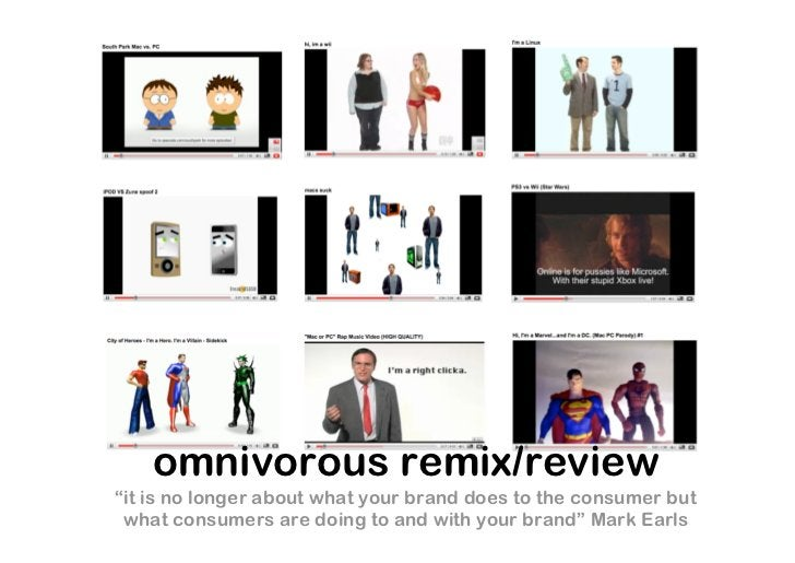 """omnivorous remix/review """"it is no longer about what your brand does to the consumer but  what consumers are doing to and w..."""