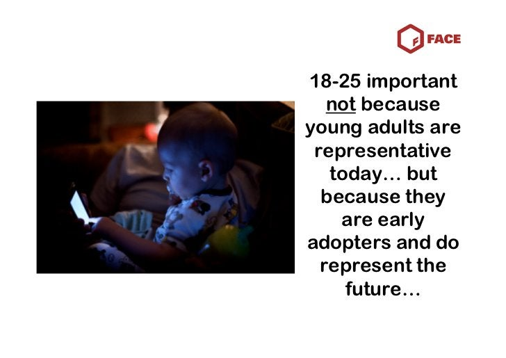 18-25 important    not because young adults are  representative    today… but   because they     are early adopters and do...