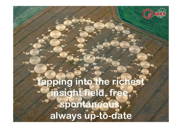 tapping into the richest    insight field, free,      spontaneous,    always up-to-date
