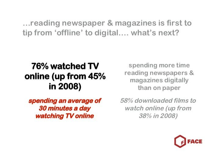 …reading newspaper & magazines is first to tip from 'offline' to digital…. what's next?     76% watched TV             spe...