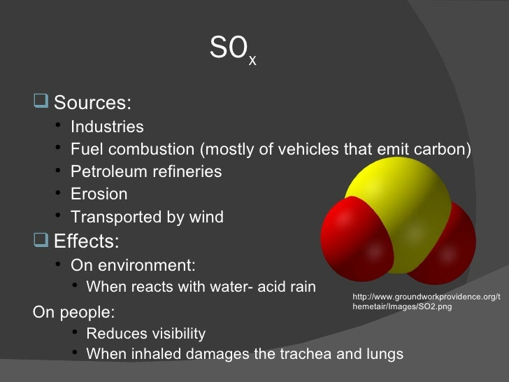 SO x <ul><li>Sources: </li></ul><ul><ul><li>Industries  </li></ul></ul><ul><ul><li>Fuel combustion (mostly of vehicles tha...