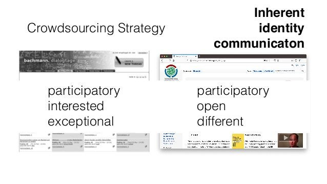 Crowdsourcing Strategy The platform could then be further improved by putting the impact more in the fore- ground and allo...