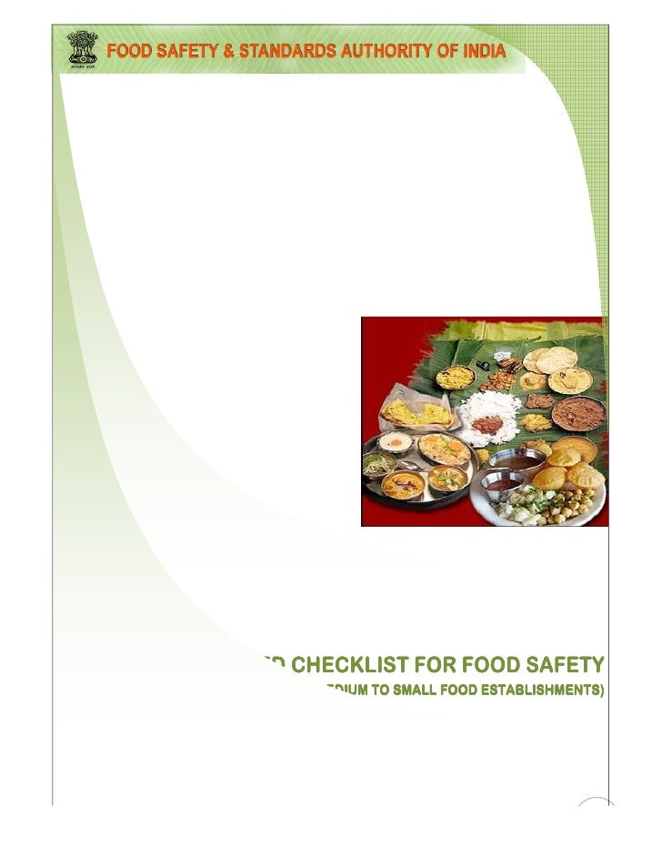 SUGGESTED CHECKLIST FOR FOOD SAFETY            (MEDIUM TO SMALL FOOD ESTABLISHMENTS)