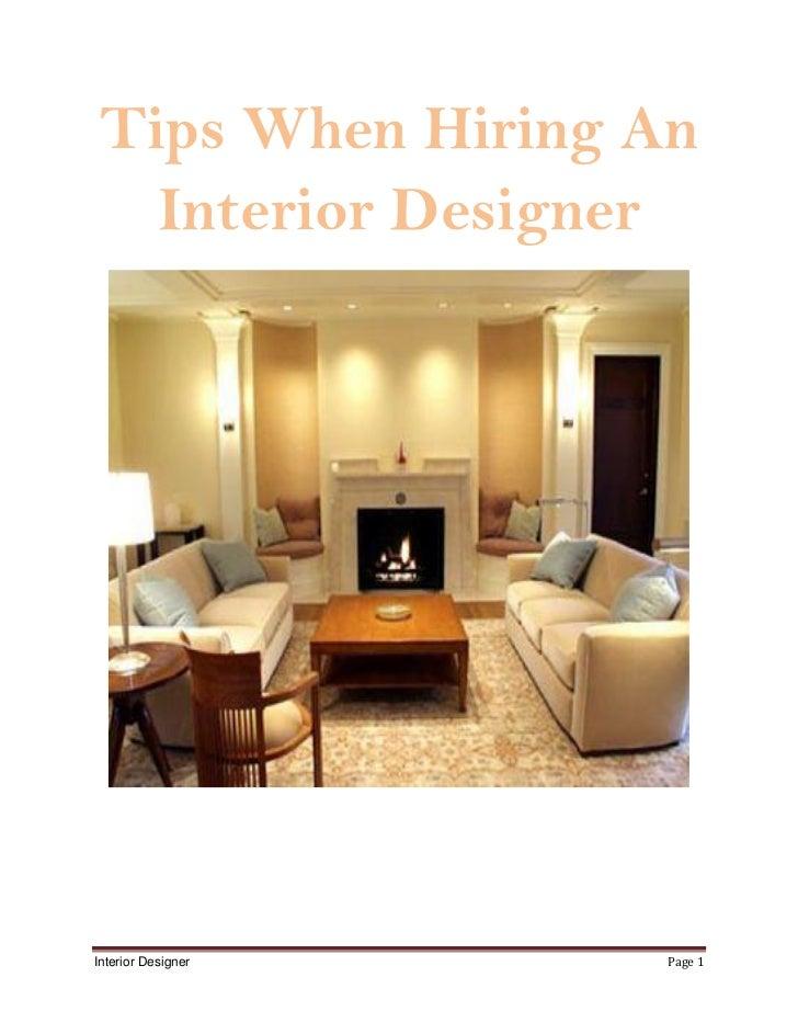 Tips When Hiring An  Interior DesignerInterior Designer   Page 1