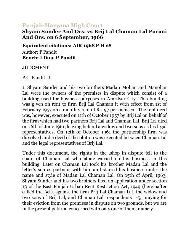 Punjab-Haryana High CourtShyam Sunder And Ors. vs Brij Lal Chaman Lal PuraniAnd Ors. on 6 September, 1966Equivalent citati...