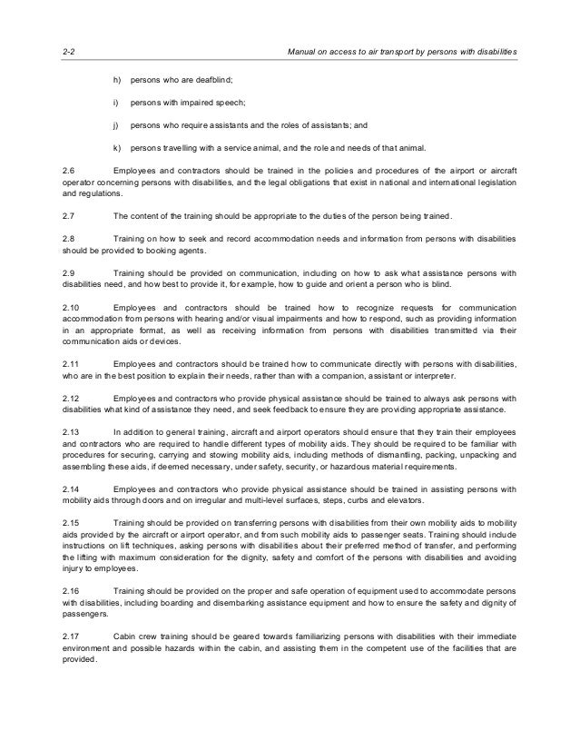 Manual on Access to Air Transport by Persons with