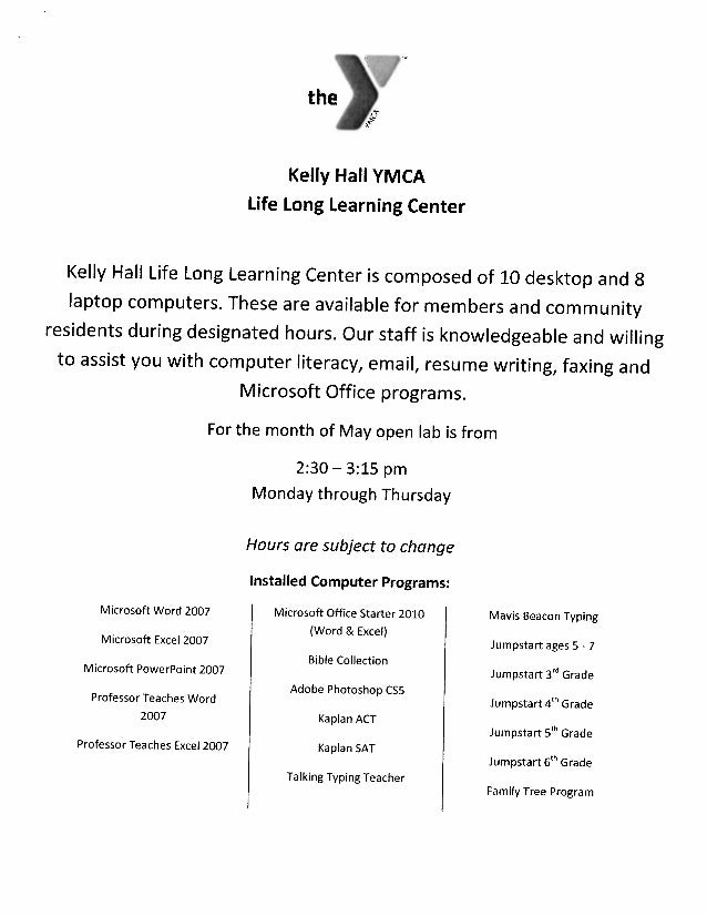 Kelly Hall YMCA  May Schedule