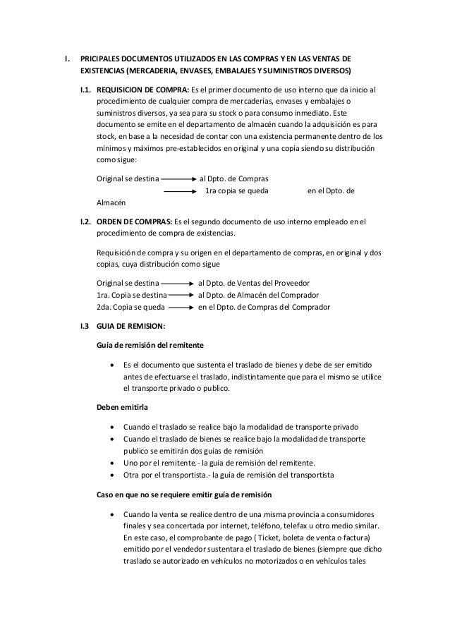I. PRICIPALES DOCUMENTOS UTILIZADOS EN LAS COMPRAS Y EN LAS VENTAS DE EXISTENCIAS (MERCADERIA, ENVASES, EMBALAJES Y SUMINI...