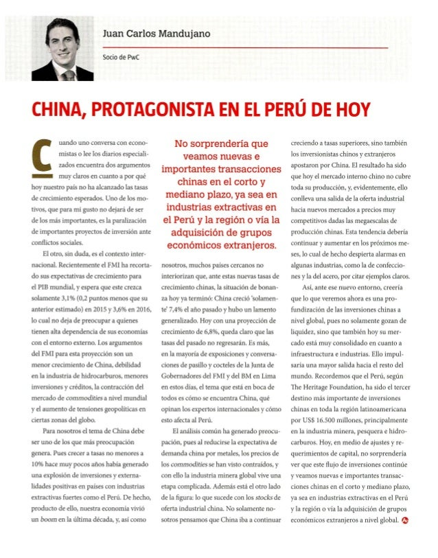 PwC - China, protagonista en el Perú de hoy