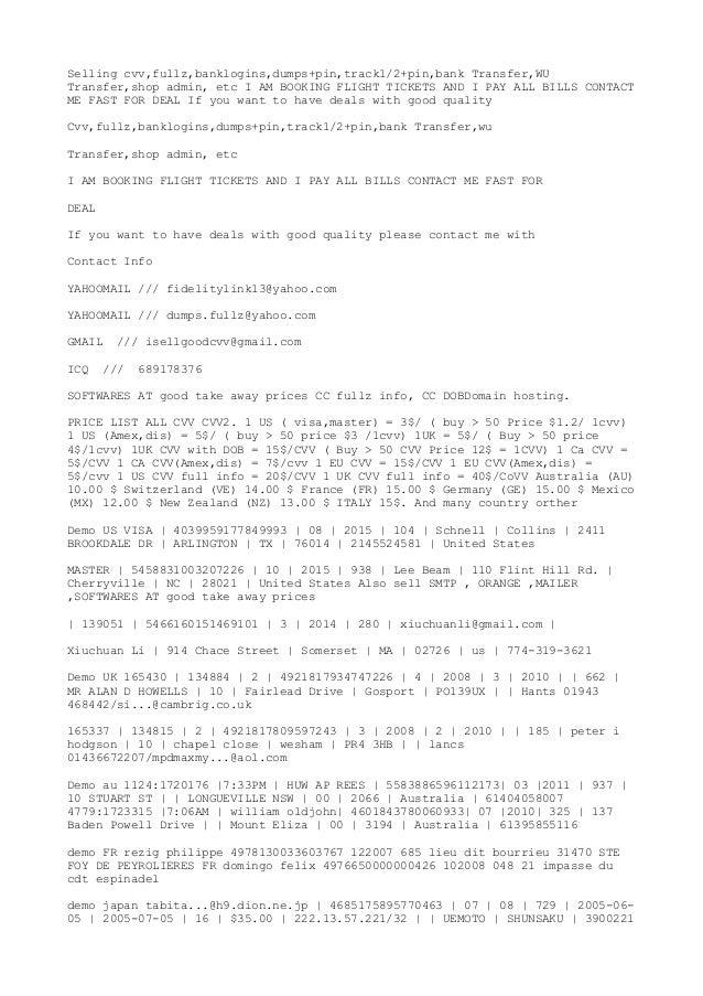 Cvv dumps - Portfolio protection