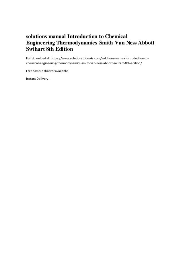 Solutions Manual Introduction To Chemical Engineering Thermodynamics