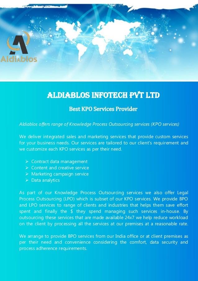 1 Superlative KPO Services Providing Company in India Aldiablos KPO Services Pvt Ltd (C) Copyright (26-May-2015) All Right...
