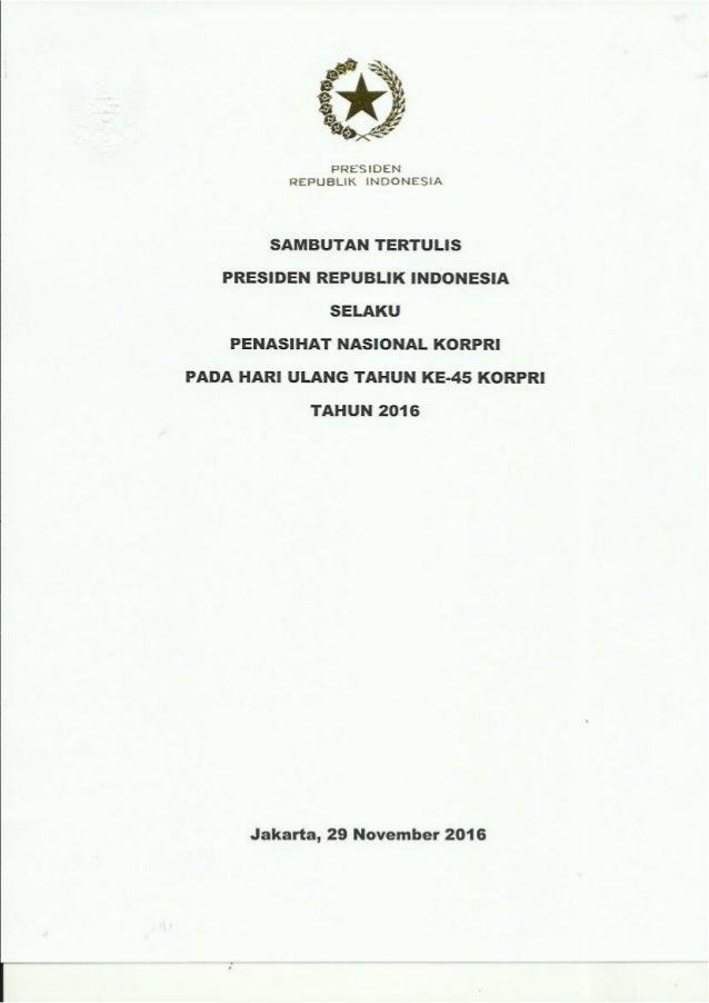 Sambutan Presiden RI Pada HUT KORPRI Ke 45 Tahun 2016