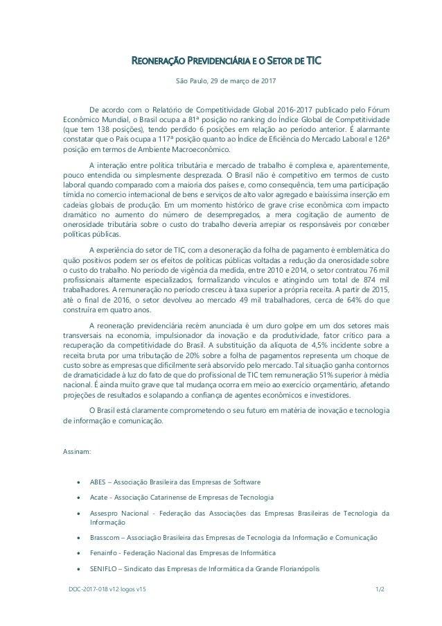 DOC-2017-018 v12 logos v15 1/2 REONERAÇÃO PREVIDENCIÁRIA E O SETOR DE TIC São Paulo, 29 de março de 2017 De acordo com o R...