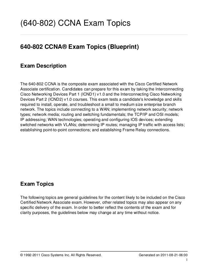 (640-802) CCNA Exam Topics640-802 CCNA® Exam Topics (Blueprint)Exam DescriptionThe 640-802 CCNA is the composite exam asso...
