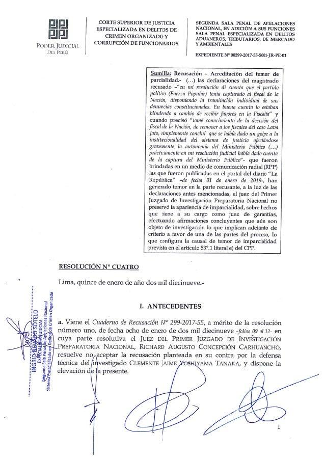Resolución que aparta de juez Concepción del Caso Cocteles