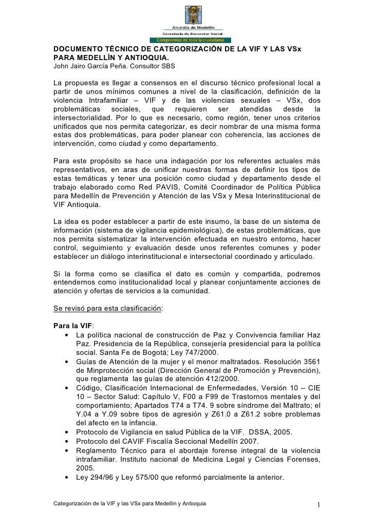 DOCUMENTO TÉCNICO DE CATEGORIZACIÓN DE LA VIF Y LAS VSx PARA MEDELLÍN Y ANTIOQUIA. John Jairo García Peña. Consultor SBS  ...