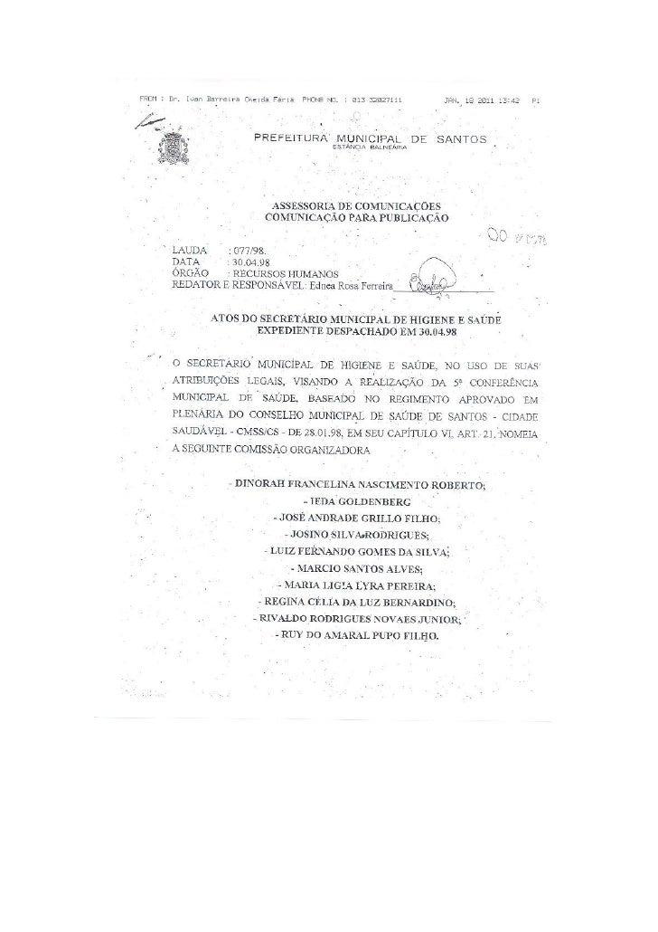 Saúde Funcional no Diário Oficial de 1998