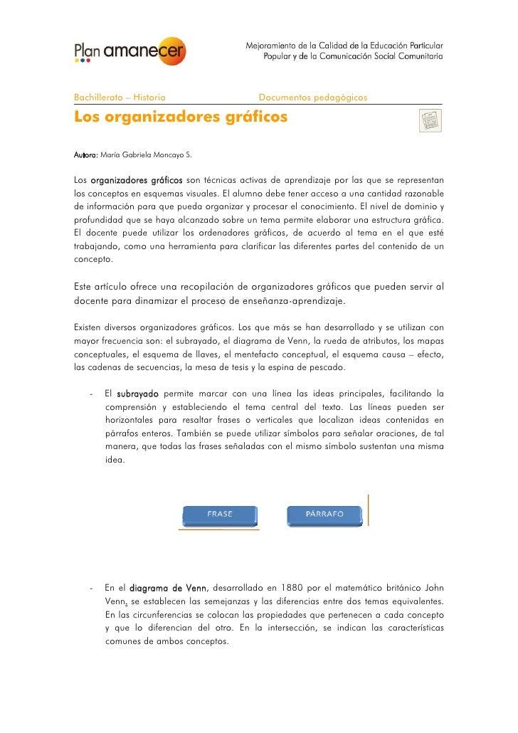 Bachillerato – Historia                      Documentos pedagógicosLos organizadores gráficosAutora: María Gabriela Monc...