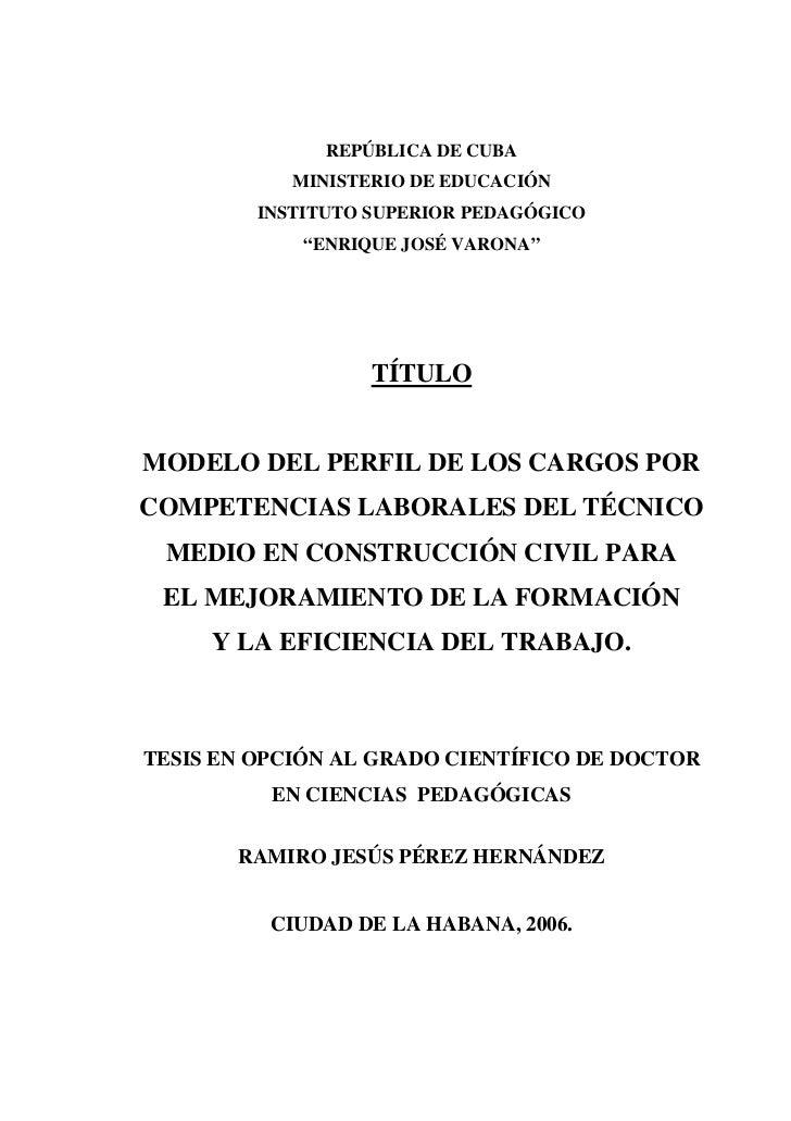 """REPÚBLICA DE CUBA            MINISTERIO DE EDUCACIÓN         INSTITUTO SUPERIOR PEDAGÓGICO             """"ENRIQUE JOSÉ VARON..."""