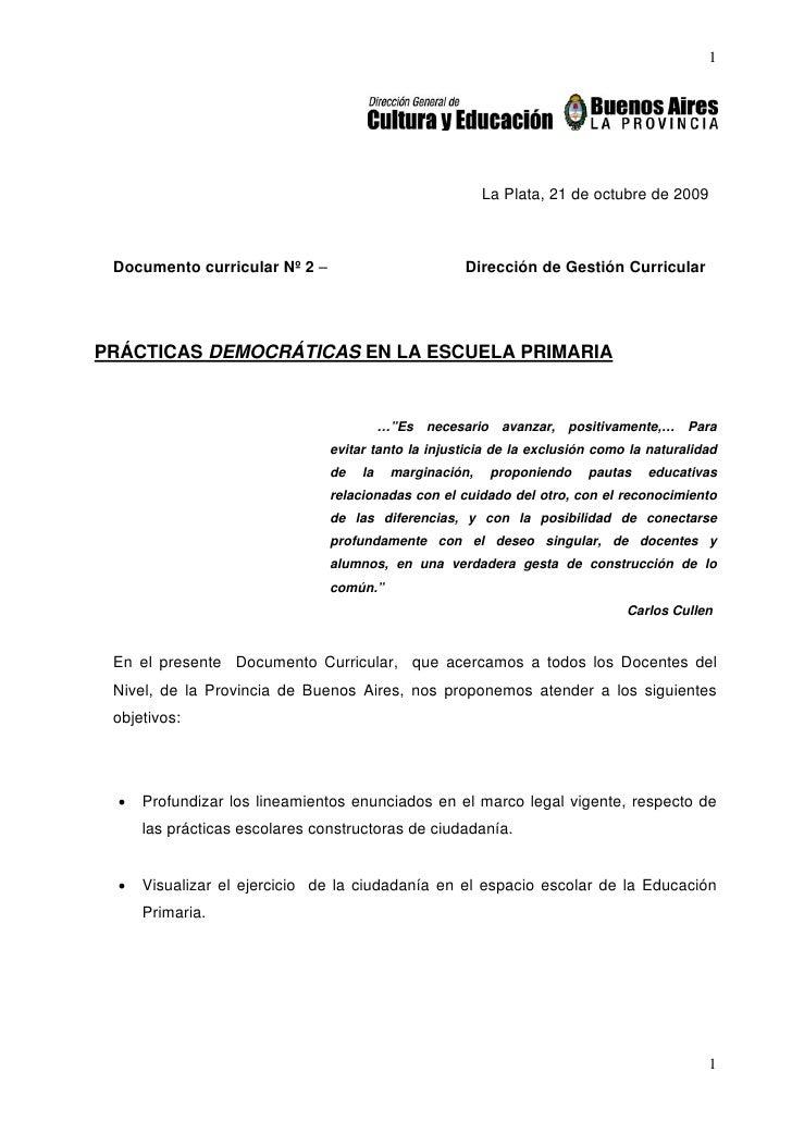 1                                                               La Plata, 21 de octubre de 2009     Documento curricular N...
