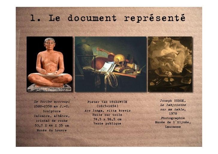 1. Le document représenté     Le Scribe accroupi    Pieter VAN STEENWYCK       Joseph SUDEK, 2500-2350 av J.-C.         (1...