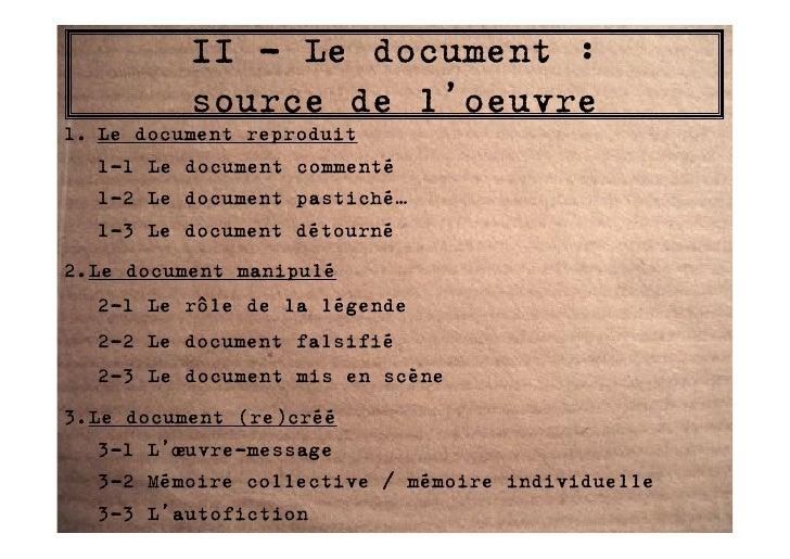 II - Le document :           source de l'oeuvre 1. Le document reproduit    1-1 Le document commenté    1-2 Le document pa...