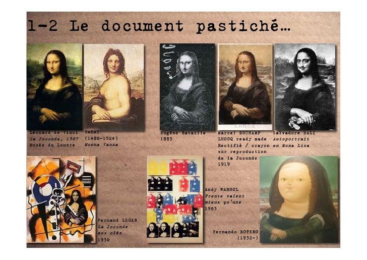 1-2 Le document pastiché…     Léonard de Vinci   SALAI               Eugène Bataille    Marcel DUCHAMP    Salvadore DALI L...