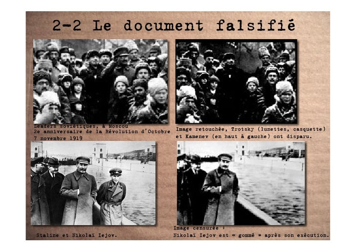 2-2 Le document falsifié     Leaders soviétiques, à Moscou 2e anniversaire de la Révolution d'Octobre Image retouchée, Tro...
