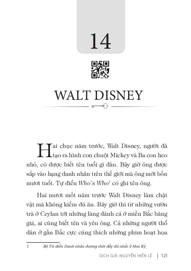 DỊCH GIẢ: NGUYỄN HIẾN LÊ | 121 Hai chục năm trước, Walt Disney, người đã tạo ra hình con chuột Mickey và Ba con heo nhỏ, c...