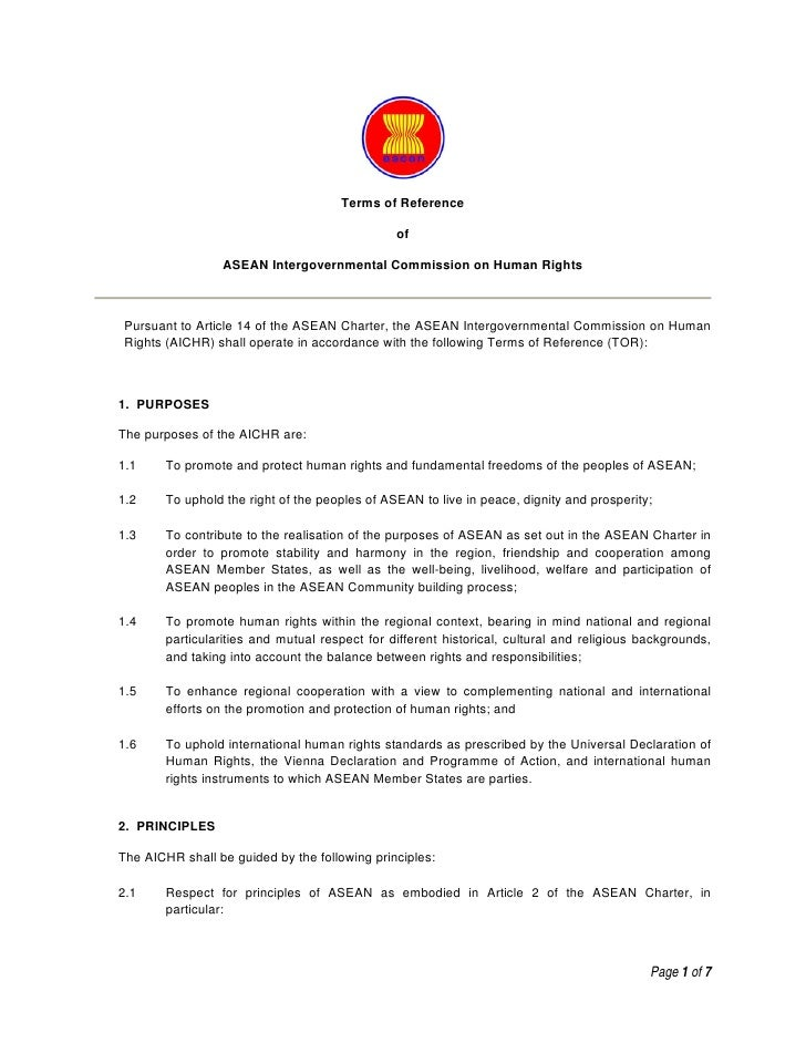 Terms of Reference                                                  of                    ASEAN Intergovernmental Commissi...