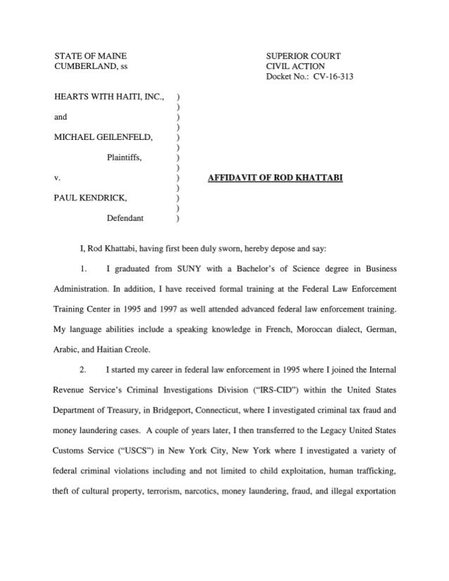 Affidavit of a former Homeland Security Investigator bring more accusations against Michael Geilenfeld.-
