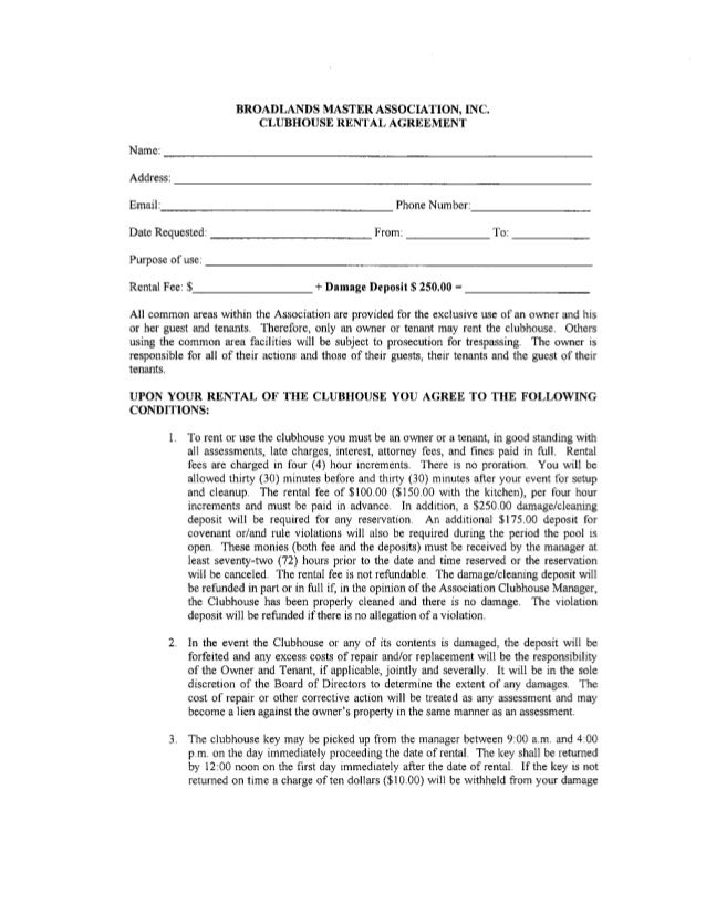 Clubhouse Rental Agreement