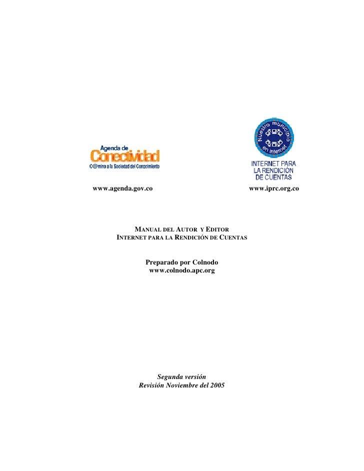 www.agenda.gov.co                             www.iprc.org.co           MANUAL DEL AUTOR Y EDITOR      INTERNET PARA LA RE...