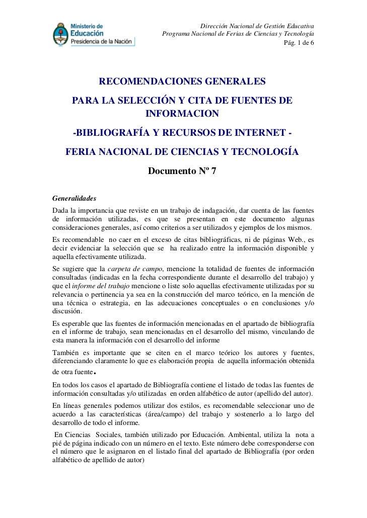 Dirección Nacional de Gestión Educativa                                     Programa Nacional de Ferias de Ciencias y Tecn...