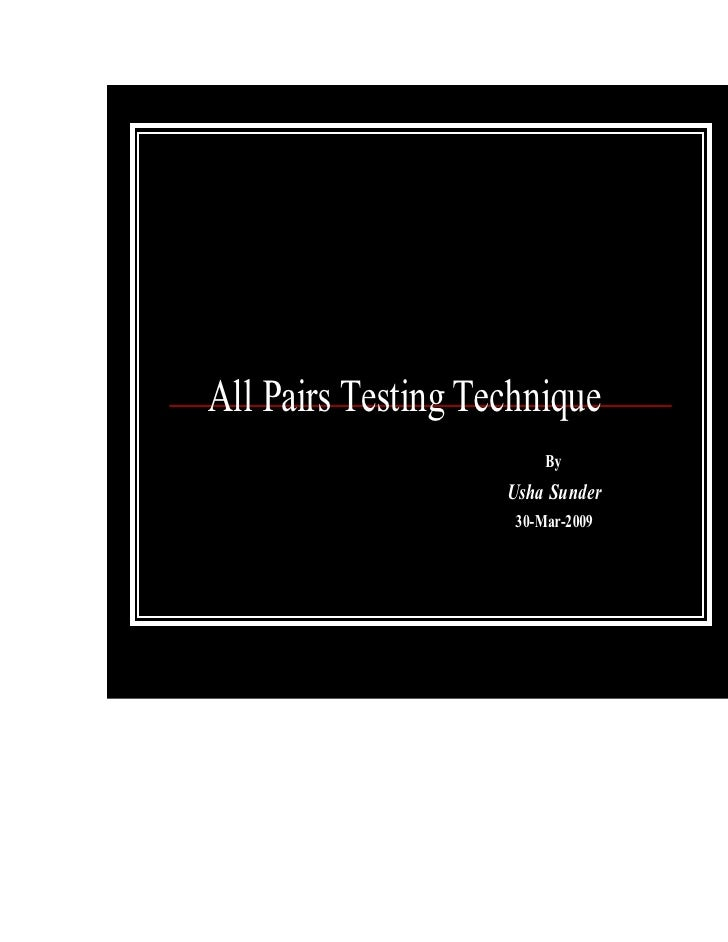All Pairs Testing Technique